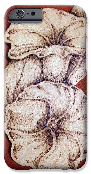 Morning Pyrography iPhone Cases - Morning Glories iPhone Case by Aline Hoffman