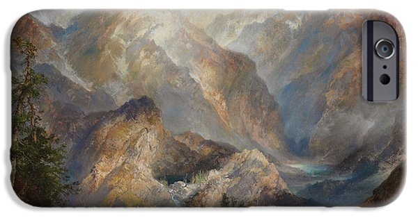 Morning Light Paintings iPhone Cases - Morning in the Sierras iPhone Case by Thomas Moran
