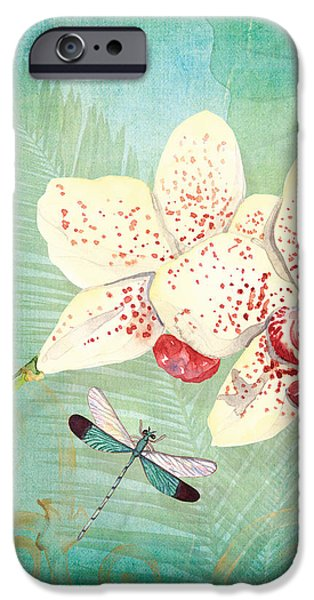 Elephants Mixed Media iPhone Cases - Morning Light - Dancing Dragonflies iPhone Case by Audrey Jeanne Roberts