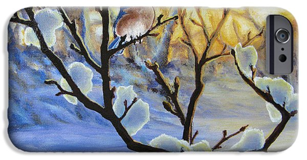 Snow-covered Landscape Paintings iPhone Cases - Morning Light iPhone Case by Joe Mandrick
