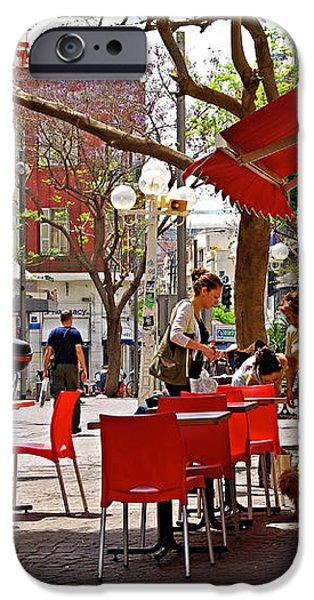 Morning on a street in Tel Aviv iPhone Case by Zalman Lazkowicz