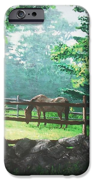Jack Skinner Paintings iPhone Cases - Morning Pasture iPhone Case by Jack Skinner