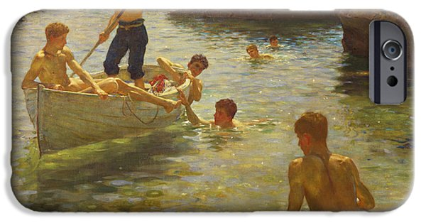 Boat Paintings iPhone Cases - Morning Splendour iPhone Case by Henry Scott Tuke
