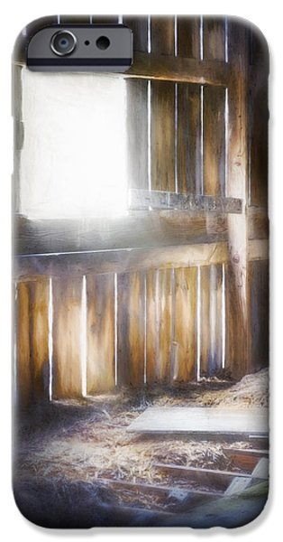Barns iPhone Cases - Morning Sun in the Barn iPhone Case by Scott Norris