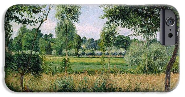 Camille Pissarro iPhone Cases - Morning Sunlight Effect at Eragny iPhone Case by Camille Pissarro