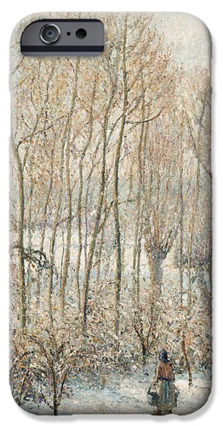 Snowscape Paintings iPhone Cases - Morning Sunlight on the Snow Eragny sur Epte iPhone Case by Camille Pissarro
