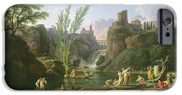 Bathers iPhone Cases - Morning  The Bathers iPhone Case by Claude Joseph Vernet