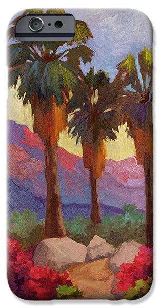 Canyons Paintings iPhone Cases - Morning Walk iPhone Case by Diane McClary