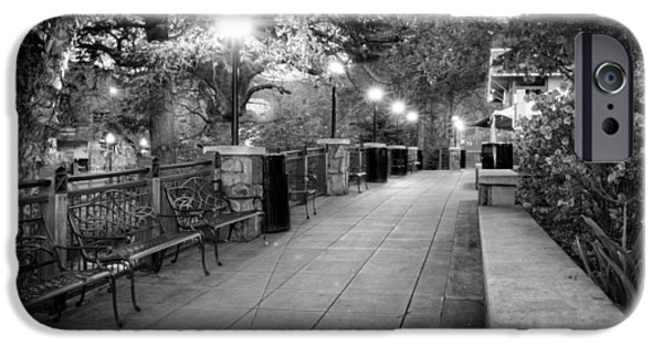 Gatlinburg iPhone Cases - Morning Walk In Gatlinburg Tennessee in Black and White iPhone Case by Greg Mimbs
