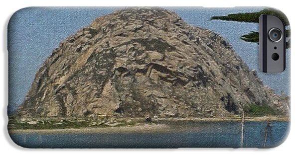 Mounds iPhone Cases - Morro Rock California Painting iPhone Case by Teresa Mucha