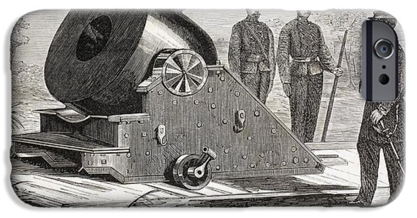 Weapon Drawings iPhone Cases - Mortar Built Circa 1862 In The United iPhone Case by Ken Welsh