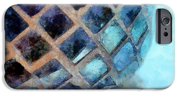 Mosaic iPhone Cases - Mosaic Blues iPhone Case by Krissy Katsimbras
