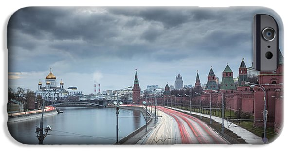 River View Pyrography iPhone Cases - Moscow is river of lights iPhone Case by Olga Parshina