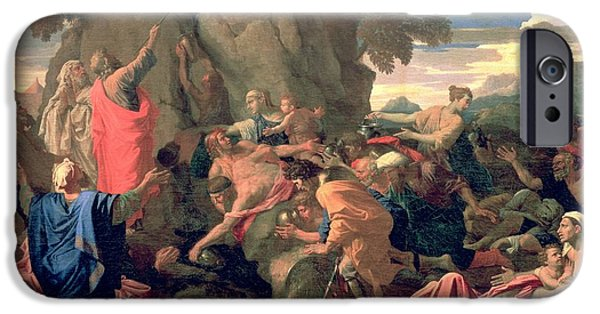 Miracle iPhone Cases - Moses Striking Water from the Rock iPhone Case by Nicolas  Poussin