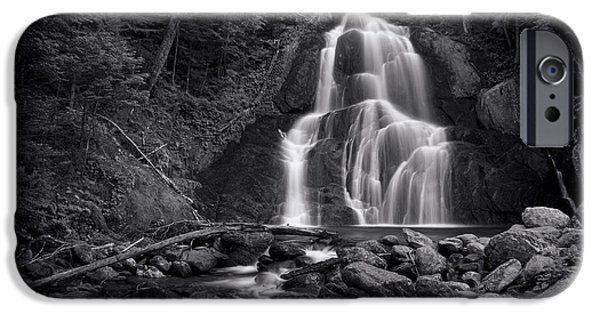 Photography Photographs iPhone Cases - Moss Glen Falls - Monochrome iPhone Case by Stephen Stookey