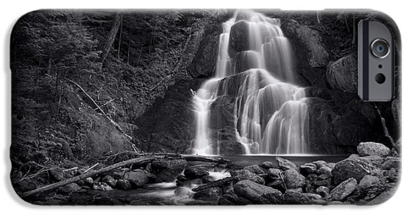 Rural Landscapes iPhone Cases - Moss Glen Falls - Monochrome iPhone Case by Stephen Stookey
