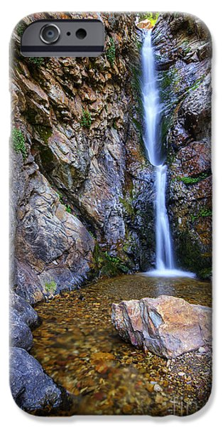 Ledge iPhone Cases - Moss Ledge Waterfall iPhone Case by Spencer Baugh