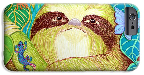 Sloth Drawings iPhone Cases - Mossy Sloth iPhone Case by Nick Gustafson