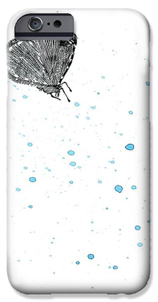 Insects Drawings iPhone Cases - Moth iPhone Case by Bella Larsson