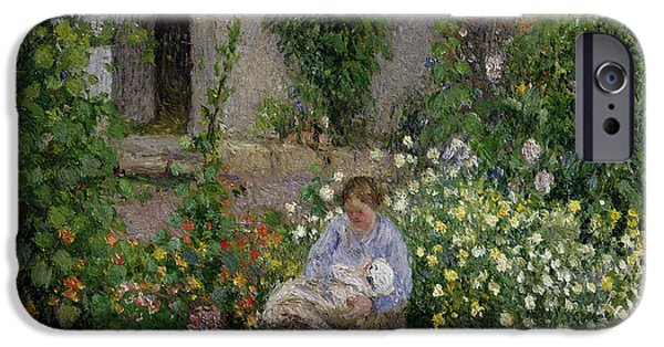 Outside iPhone Cases - Mother and Child in the Flowers iPhone Case by Camille Pissarro