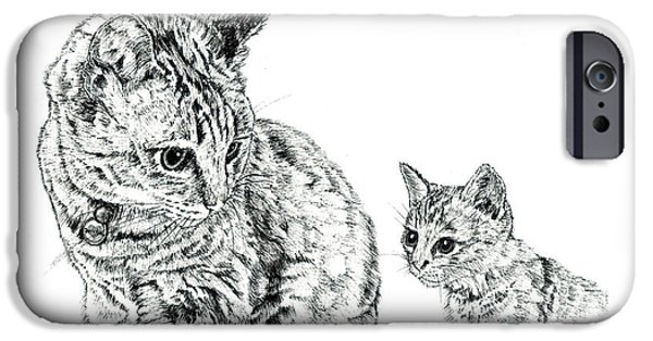 Kobe Drawings iPhone Cases - Mother and Child iPhone Case by Takahiro Yamada