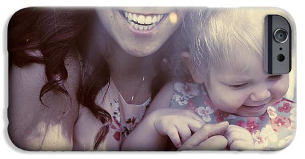 Bonding iPhone Cases - Mother and daughter laughing together outdoors iPhone Case by Ryan Jorgensen