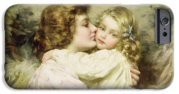 1856 iPhone Cases - Mother and Daughter  iPhone Case by Thomas Benjamin Kennington