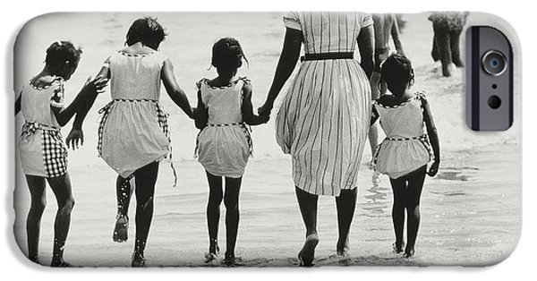 Bathing iPhone Cases - Mother and Four Daughters Entering Water at Coney Island iPhone Case by Nat Herz