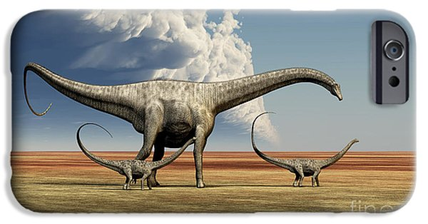 Triassic iPhone Cases - Mother Diplodocus Dinosaur Walks iPhone Case by Corey Ford