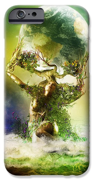 Gaia Digital iPhone Cases - Mother Earth iPhone Case by Karen K