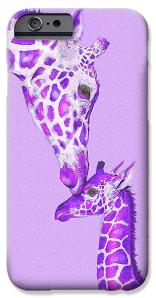 Giraffe Digital iPhone Cases - Mother Giraffe iPhone Case by Jane Schnetlage