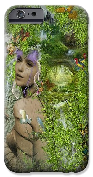 Surrealism Digital iPhone Cases - Mother nature iPhone Case by Ali Oppy