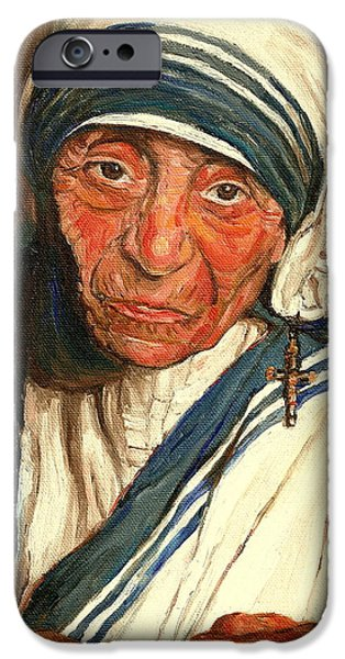 MOTHER TERESA  iPhone Case by CAROLE SPANDAU