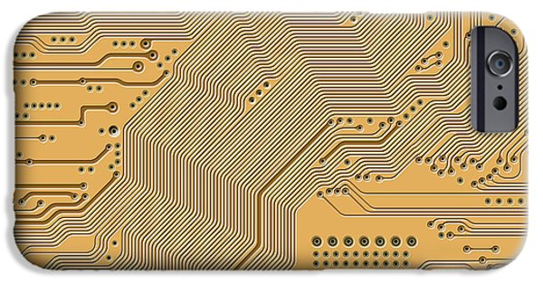 Electrical Component iPhone Cases - Motherboard - Printed Circuit iPhone Case by Michal Boubin