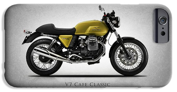 Racer iPhone Cases - Moto Guzzi V7 Cafe Classic iPhone Case by Mark Rogan
