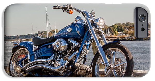 Asphalt iPhone Cases - Motorcycle at the Harbor iPhone Case by Laura Duhaime