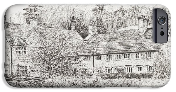 Snake Drawings iPhone Cases - Mottistone Hall  Isle of Wight iPhone Case by Vincent Alexander Booth