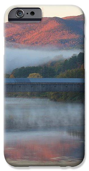Mount Ascutney and Windsor Cornish Bridge Sunrise Fog iPhone Case by John Burk
