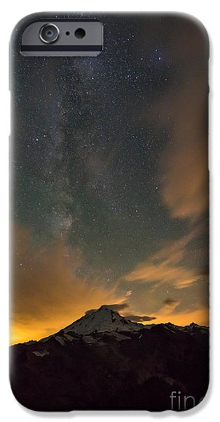 North Cascades iPhone Cases - Mount Baker Milky Way Around Midnight iPhone Case by Mike Reid
