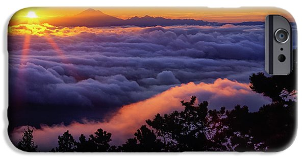 Constitution iPhone Cases - Mount Constitution Sunrise iPhone Case by Inge Johnsson