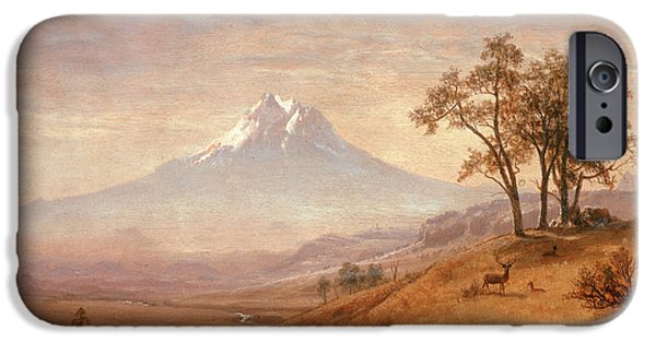 Fog Mist iPhone Cases - Mount Hood iPhone Case by Albert Bierstadt