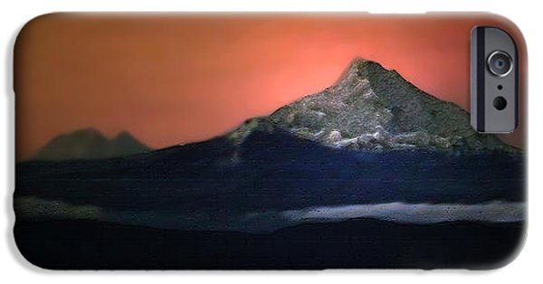 Abstract Digital Photographs iPhone Cases - Mount Hood At Sunrise iPhone Case by Lana Art