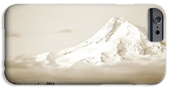 Oregon iPhone Cases - Mount Hood Snow iPhone Case by Andrea Hazel Ihlefeld