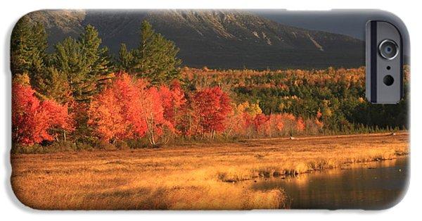 Maine Roads iPhone Cases - Mount Katahdin Snow Foliage iPhone Case by John Burk