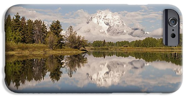 Snake iPhone Cases - Mount Moran On Oxbow Bend Panorama iPhone Case by Brian Harig