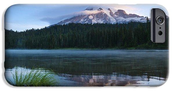 Mounds iPhone Cases - Mount Rainier Landscape iPhone Case by Greg Vaughn - Printscapes