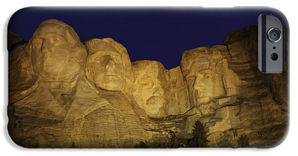 United iPhone Cases - Mount Rushmore at Night iPhone Case by Phyllis Taylor