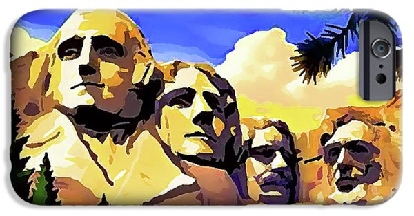 Democracy Paintings iPhone Cases - Mount Rushmore iPhone Case by Lanjee Chee
