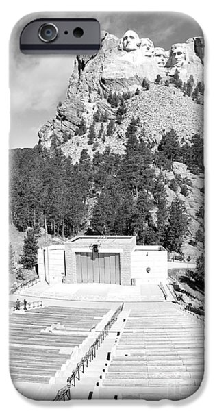 Open Air Theater iPhone Cases - Mount Rushmore National Monument Amphitheater South Dakota Black and White iPhone Case by Shawn O