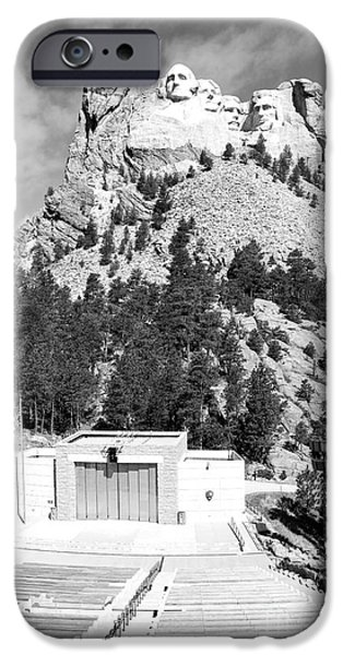 Open Air Theater iPhone Cases - Mount Rushmore National Monument Overlooking Amphitheater South Dakota Black and White iPhone Case by Shawn O